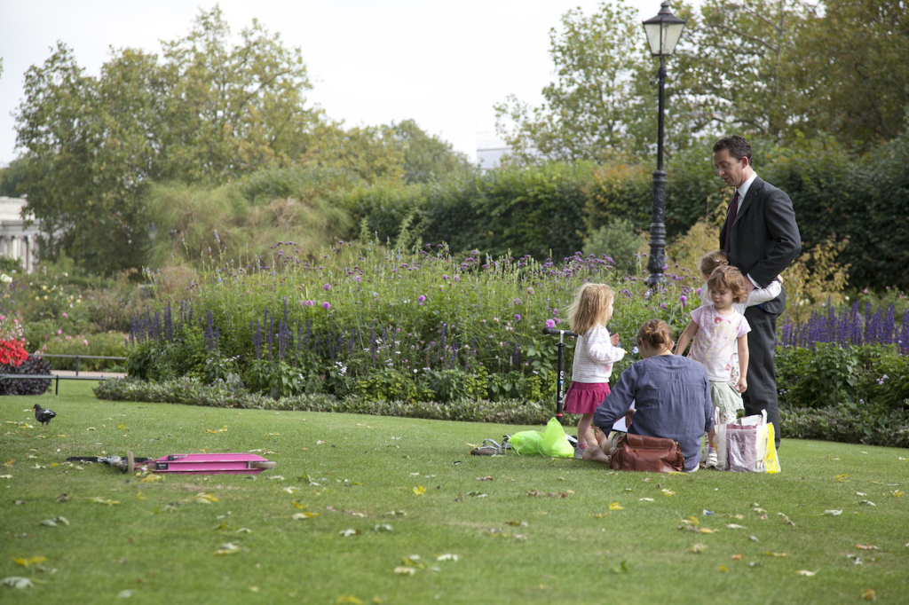 Family in Hyde Park London having a picnic